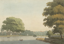 A view of Richmond Hill from Twickenham Meadows 18c